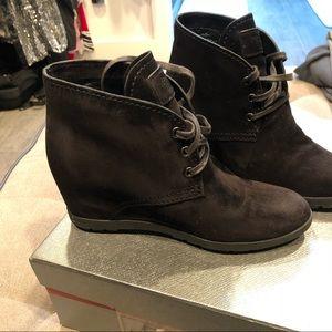 LN Prada wedge black suede booties size 6